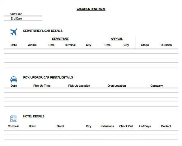 26 Trip Itinerary Templates Pdf Doc Excel Travel