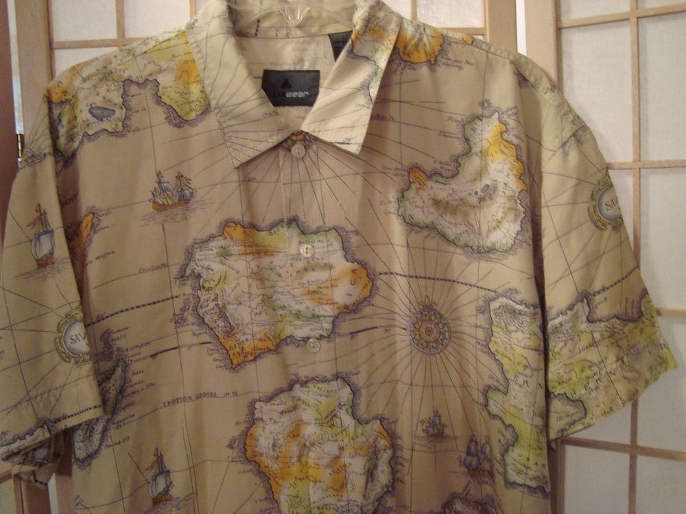 World Map Button Down Shirt.Sz L Liz Claiborne Men S Shirt Old World Map Design Button Front
