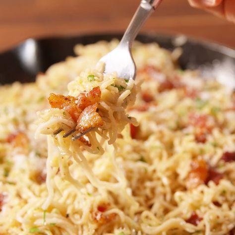 Give instant ramen noodles a very classy makeover with our carbonara recipe. Get the recipe at Delish.com. #delish #easy #recipe #carbonara #ramen #instantnoodles #bacon #egg #cheese #pasta #dinnerrecipes #cheaprecipes #foodrecipesitalian
