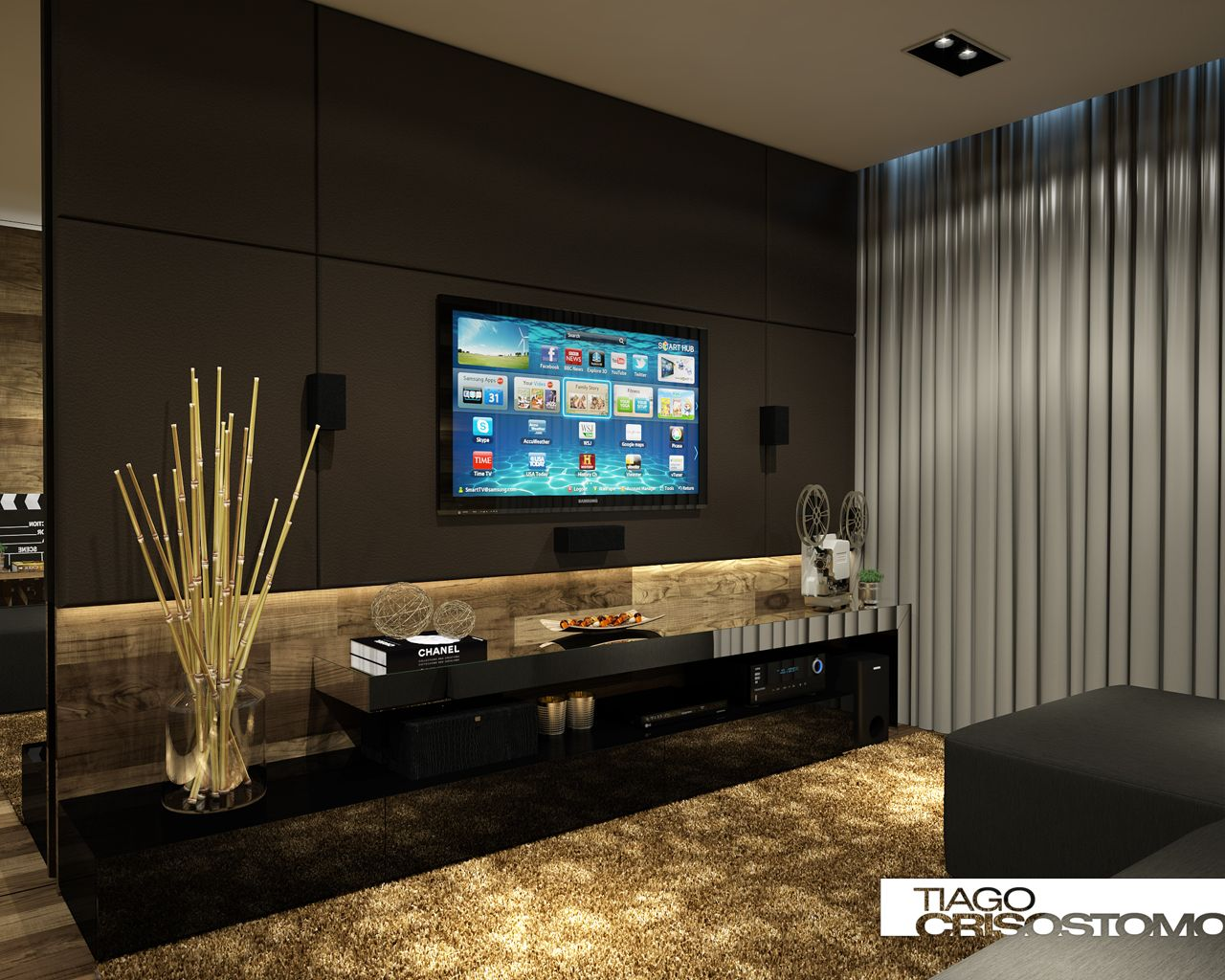 Home theater cuarto de entrenamiento pinterest salas painel tv e pain is - Sala home theatre ...