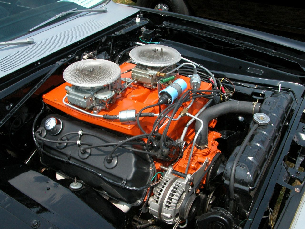 426 Hemi With Cross Ram Manifold And Twin 4 Barrell Holleys In A