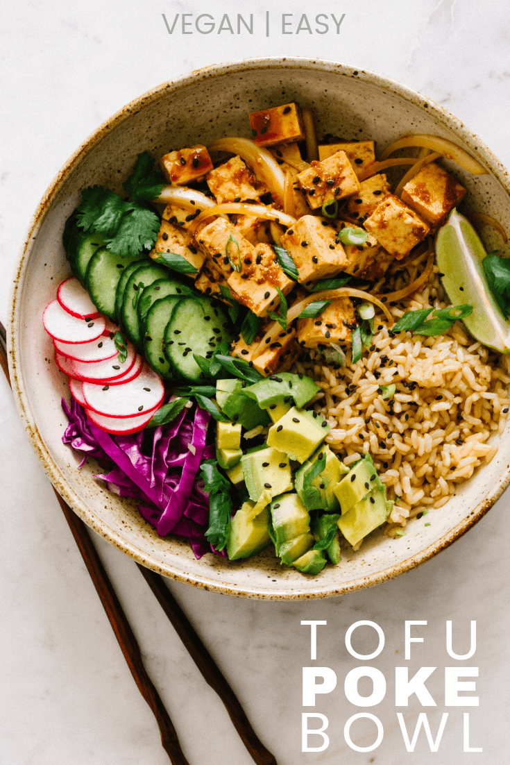 Tofu Poke Bowl... Healthy, vegan tofu poke bowls are great for lunch, dinner or make ahead meals (great for meal prep). Recipe is gluten free and takes about 20 minutes.