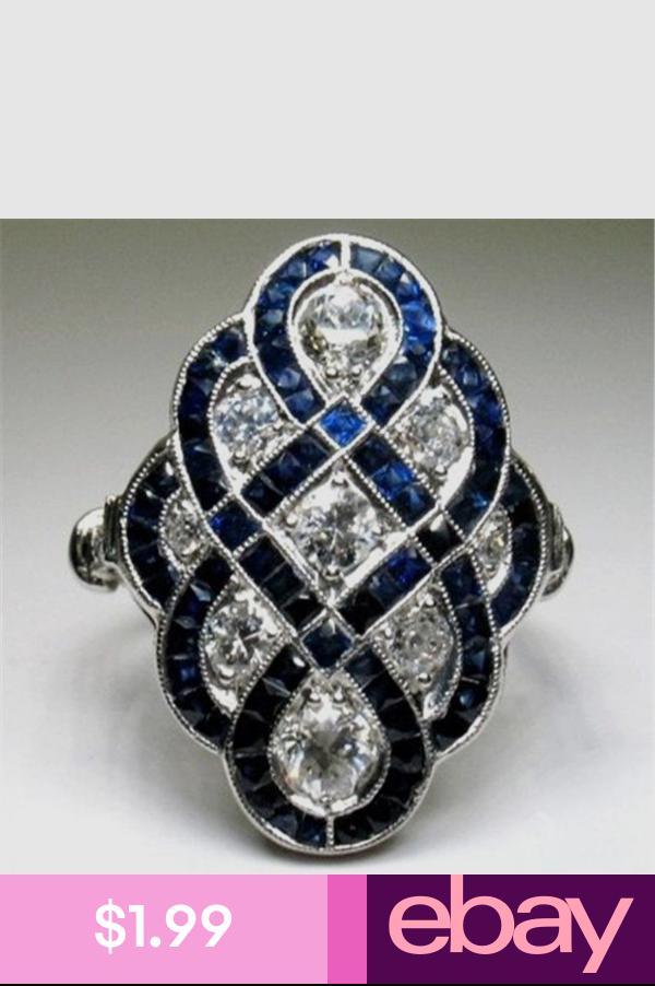Women Fashion Jewelry 925 Silver Ring Princess Cut blanc saphir Mariée Mariage