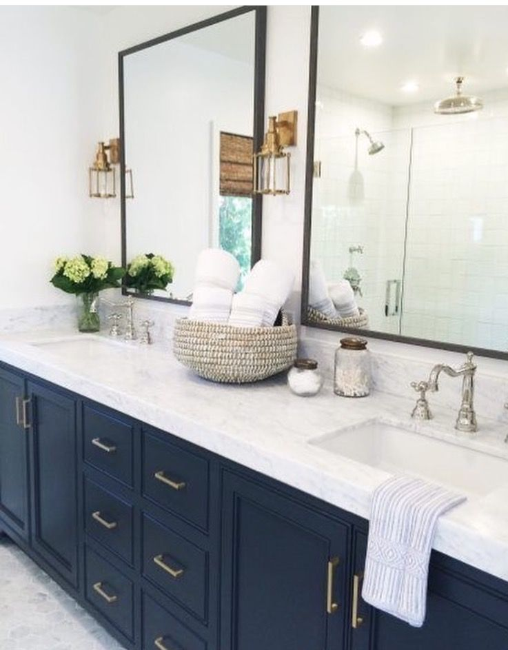 Love The Navy Blue Vanity For Our Master Bath Bathroom Bathroom Trends 2017 Bathroom Trends