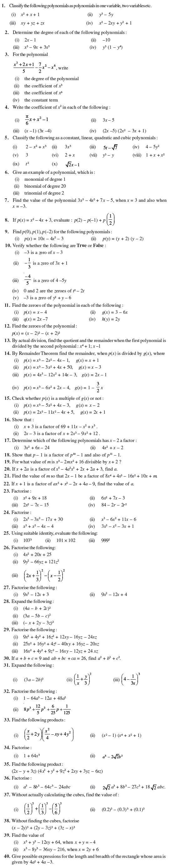 Class 9 Important Questions for Maths - Polynomials   Polynomials [ 2758 x 540 Pixel ]