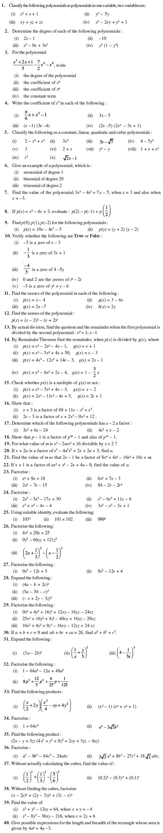 Class 9 Important Questions For Maths Polynomials Polynomials Math Worksheets [ 2758 x 540 Pixel ]