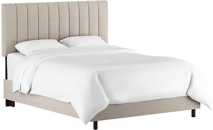 Best Delmar Channel Bed Light Gray Velvet 400 x 300