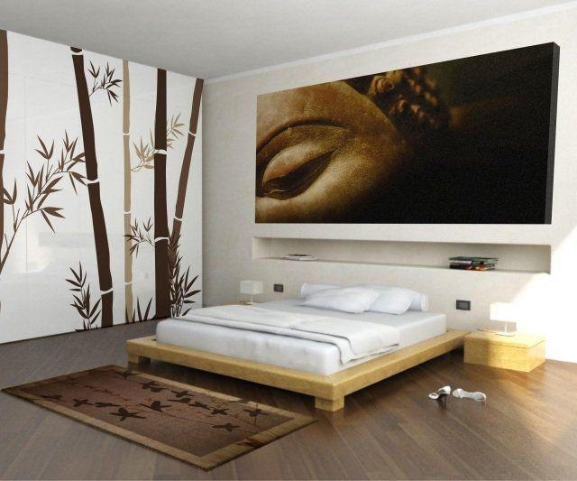 Chambre zen lit bois clair d co bambou bouddha chambre for Deco lit adulte