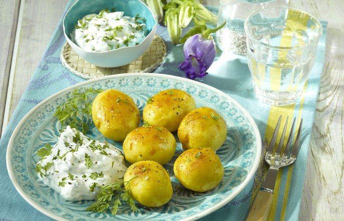 Karamellisierte Kartoffeln Mit Fruhlingsquark Rezepte Quark Diat Lebensmittel Essen