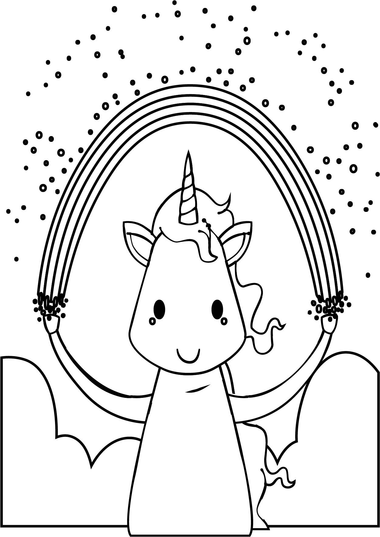 Awesome Happy Unicorn With Rainbow Coloring Page Happy Unicorn Coloring Pages Printable Coloring Pages