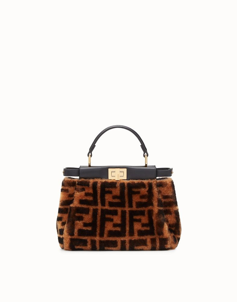 0a2a20701c FENDI PEEKABOO MINI - Brown sheepskin bag - view 1 detail