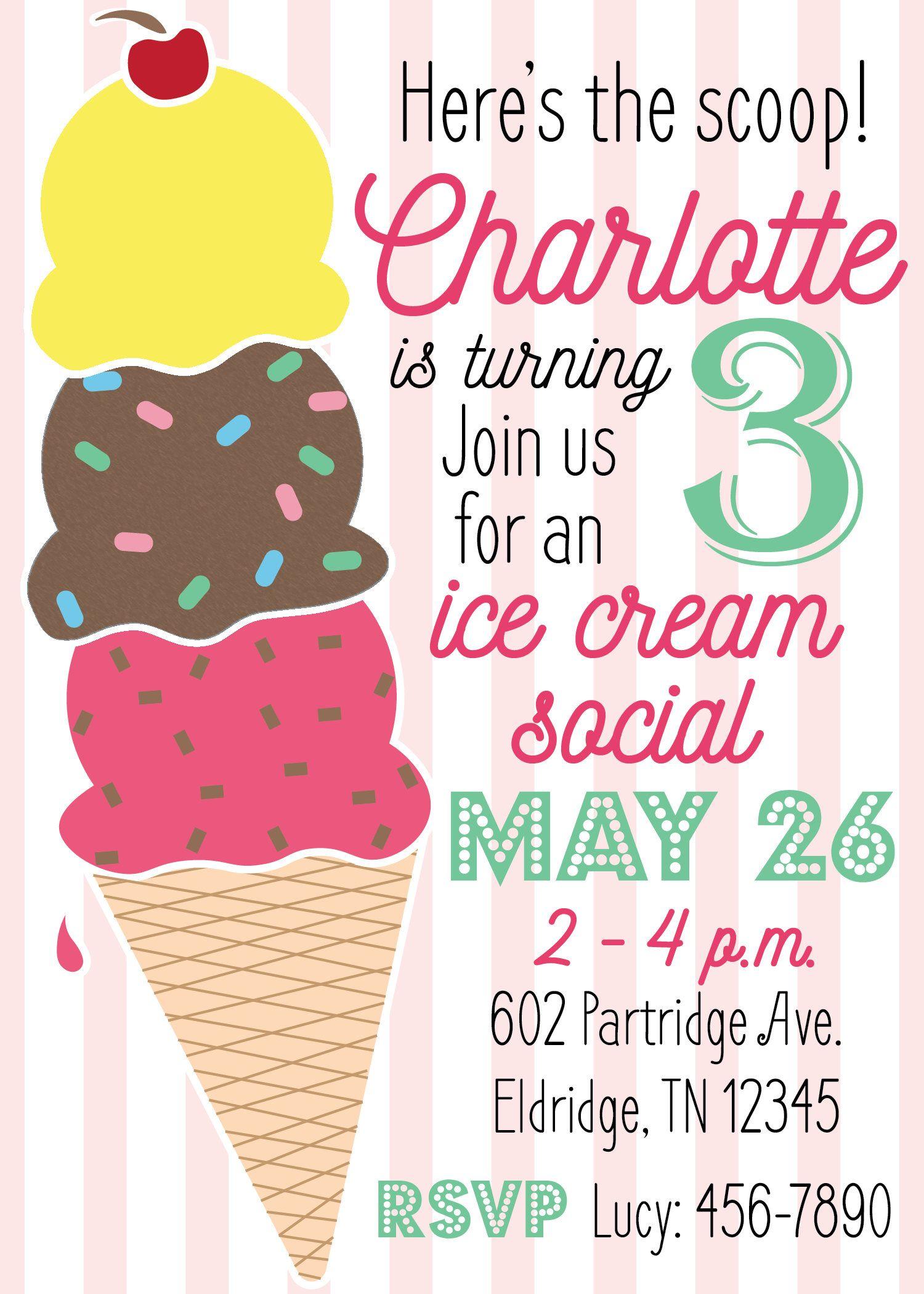Printable Ice Cream Birthday Party Invitation Ice Cream