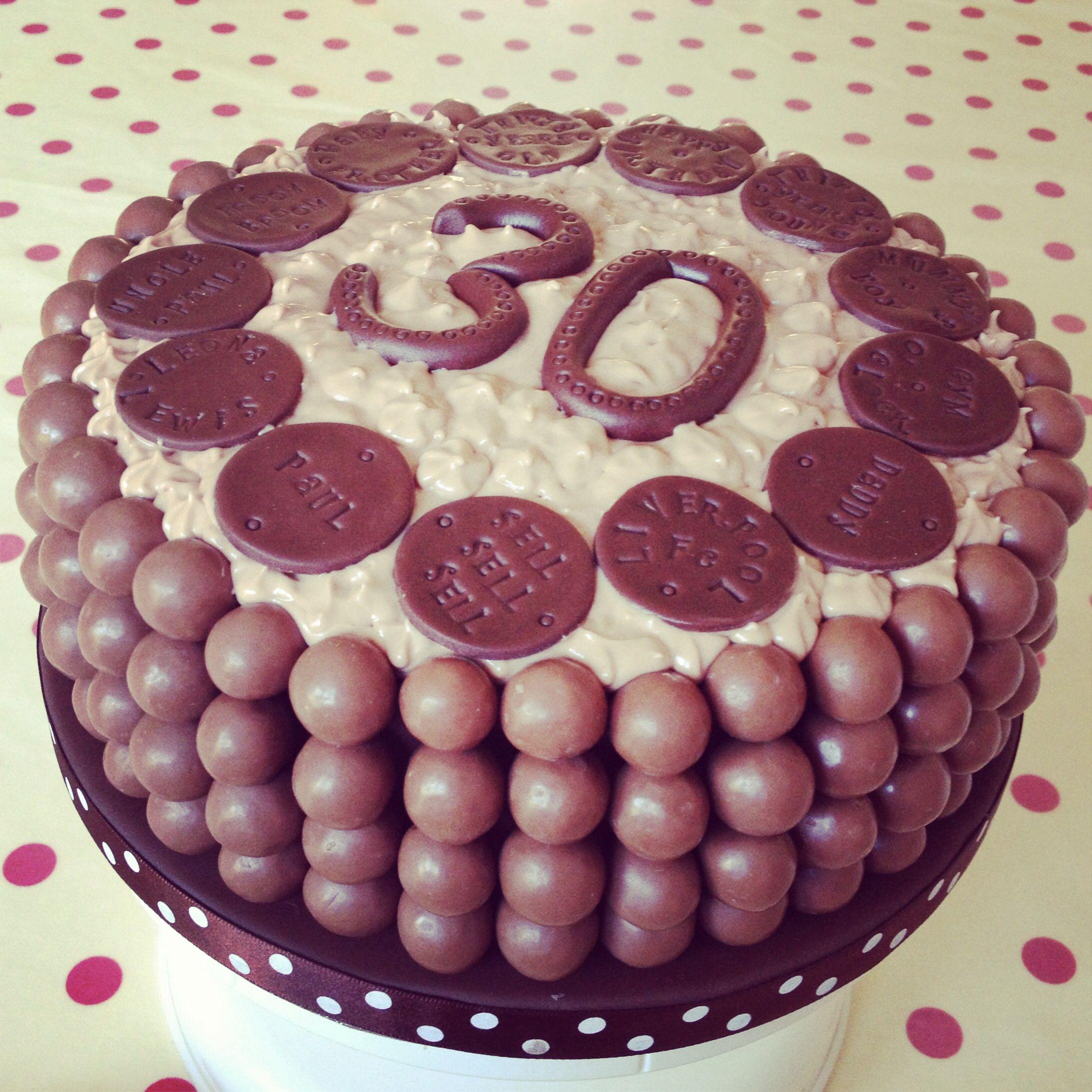 Maltesers Cake 30th Birthday Cake with personalised chocolate