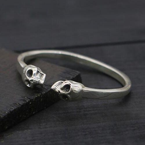 Men S Sterling Silver Skulls Cuff Bracelet