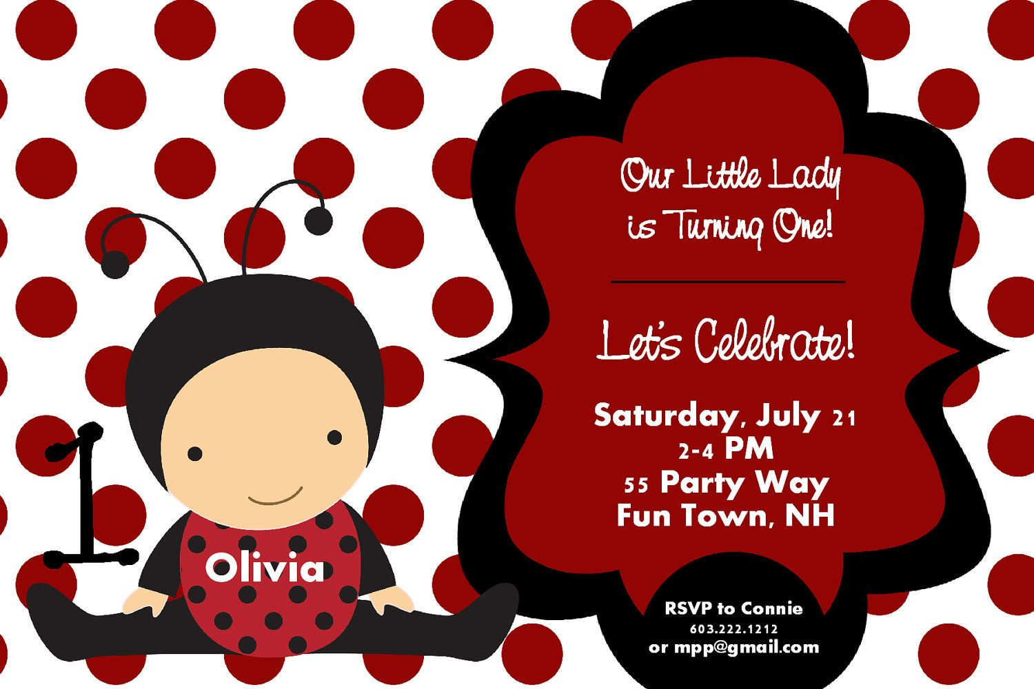 Printable Ladybug First Birthday Party Invitation - Red and Black ...