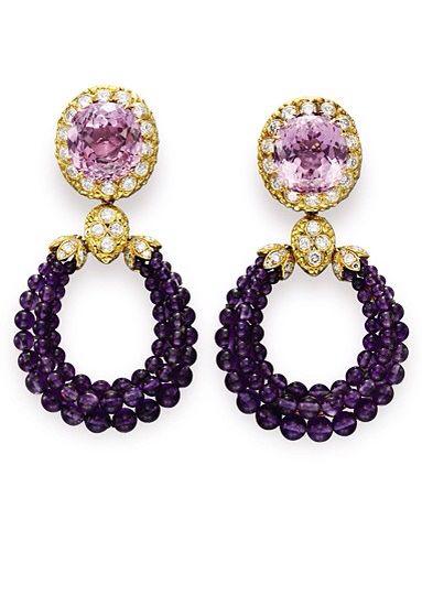 Kunzite, Amethyst, Diamond and 18K Gold Earrings