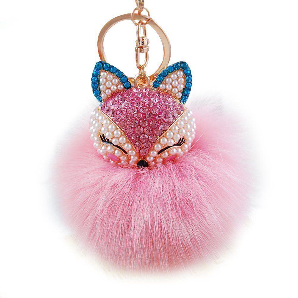 Faux Rabbit Fur PomPom Ball Rinestone Fox Face Bag Car Pendant Keychain Keyring