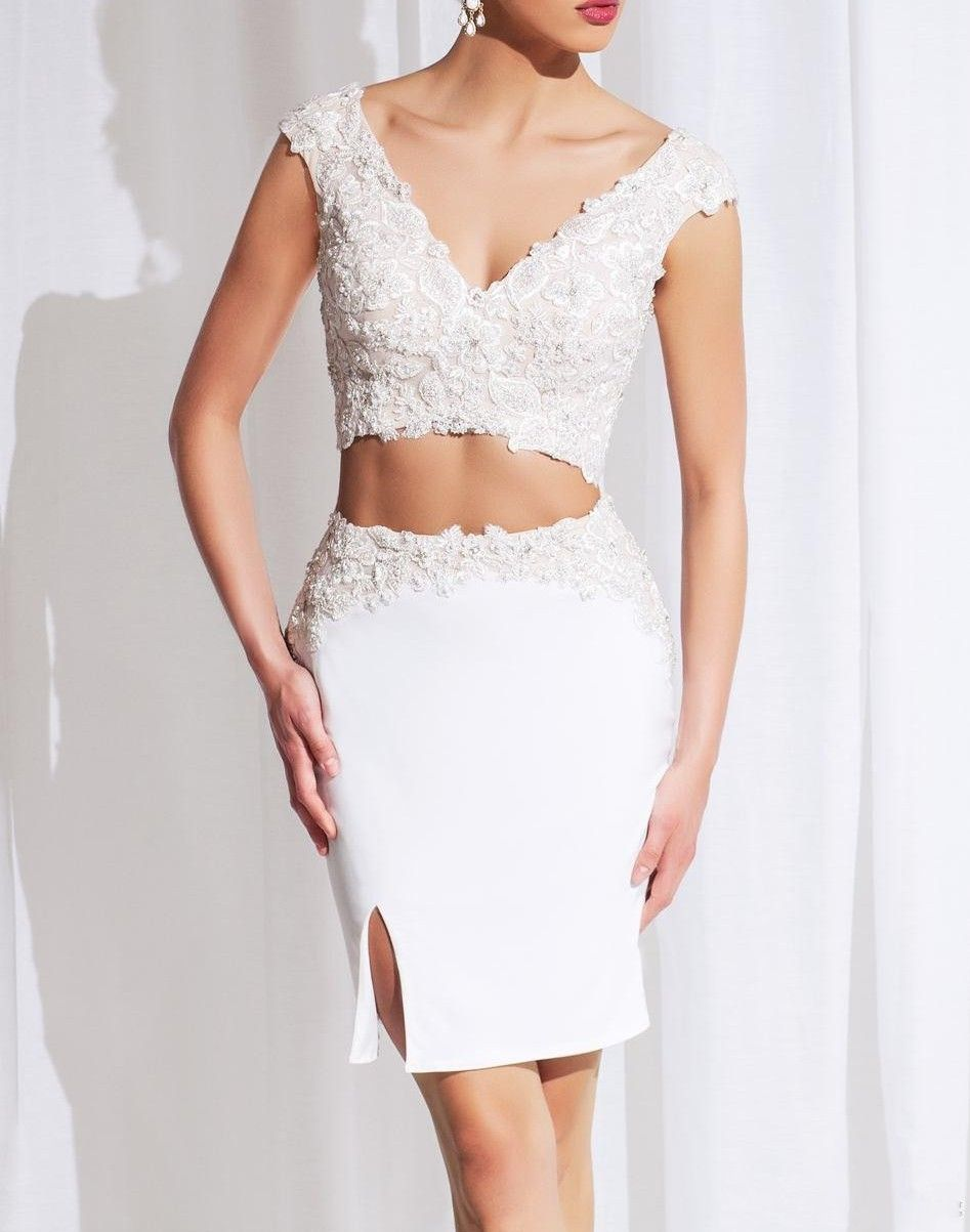 Sexy two pieces lace homecoming dresses with v neck sleeveless