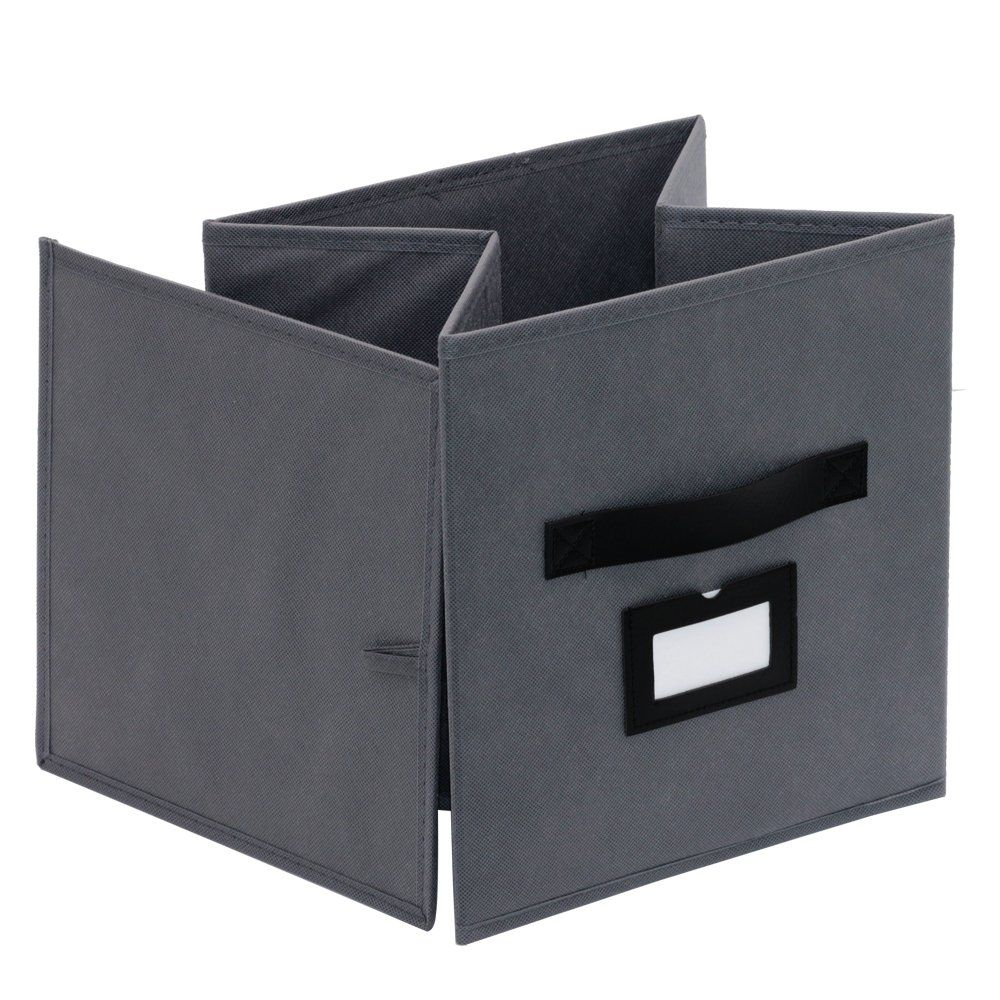 Onlyeasy Storage Box With Leather Label Holders Cubicle Fabric Storage Cubes Baskets Bins Containers Divider Fo In 2020 Storage Bins Organization Storage Bins Storage