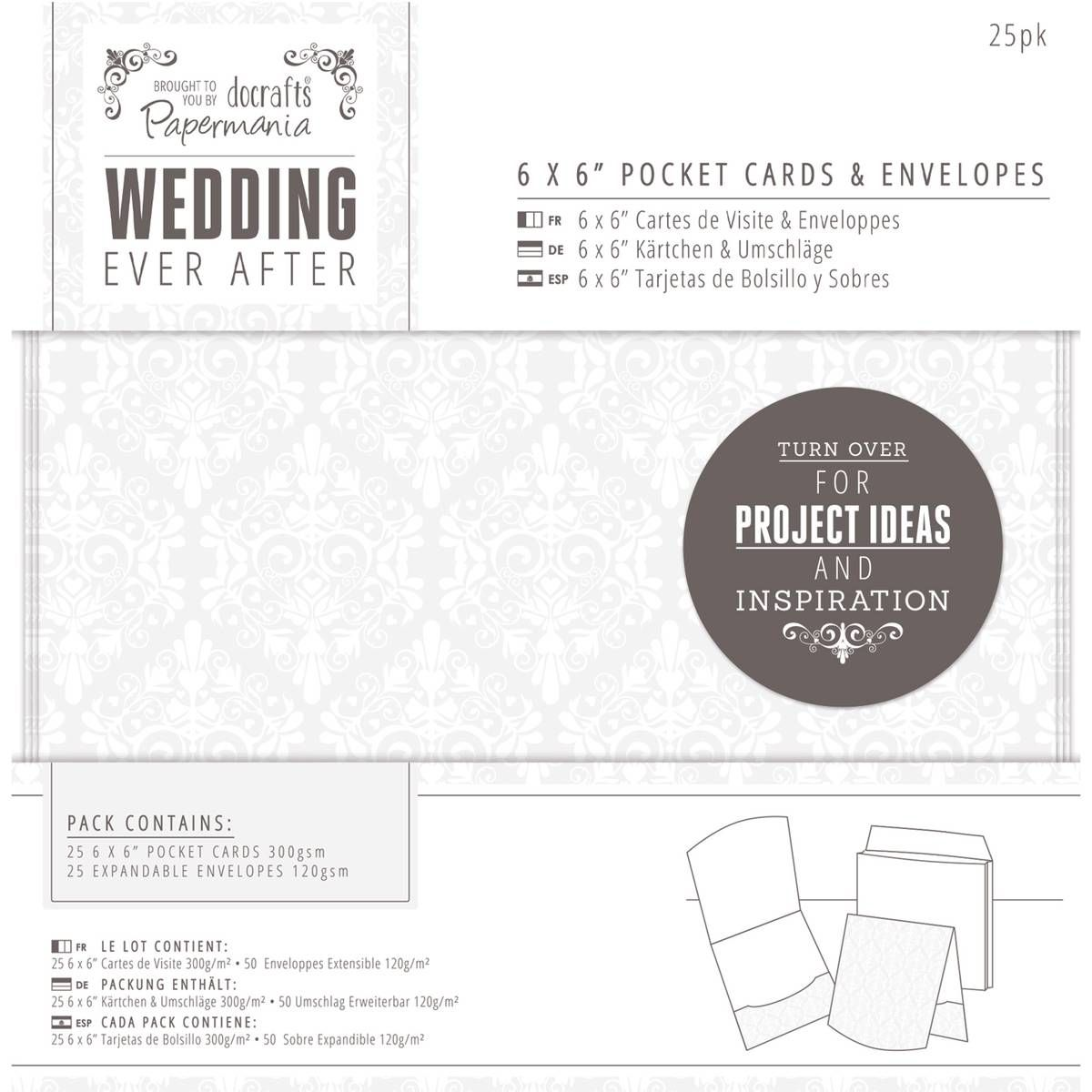 Papermania Wedding Ever After Pocket Cards 6 X 6 Inches 25 Pack