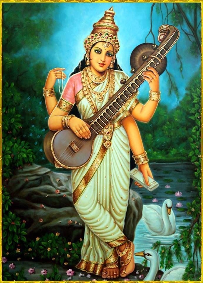 A rare photo depicting a standing goddess saraswati hindu spirituality in 2019 durga - Images of hindu gods and goddesses ...
