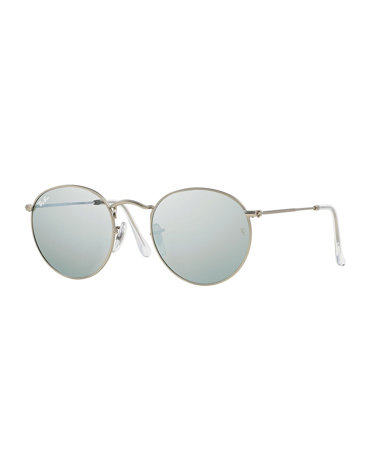d7005332c Round Metal-Frame Sunglasses with Silver Mirror Lens - Ray-Ban ...