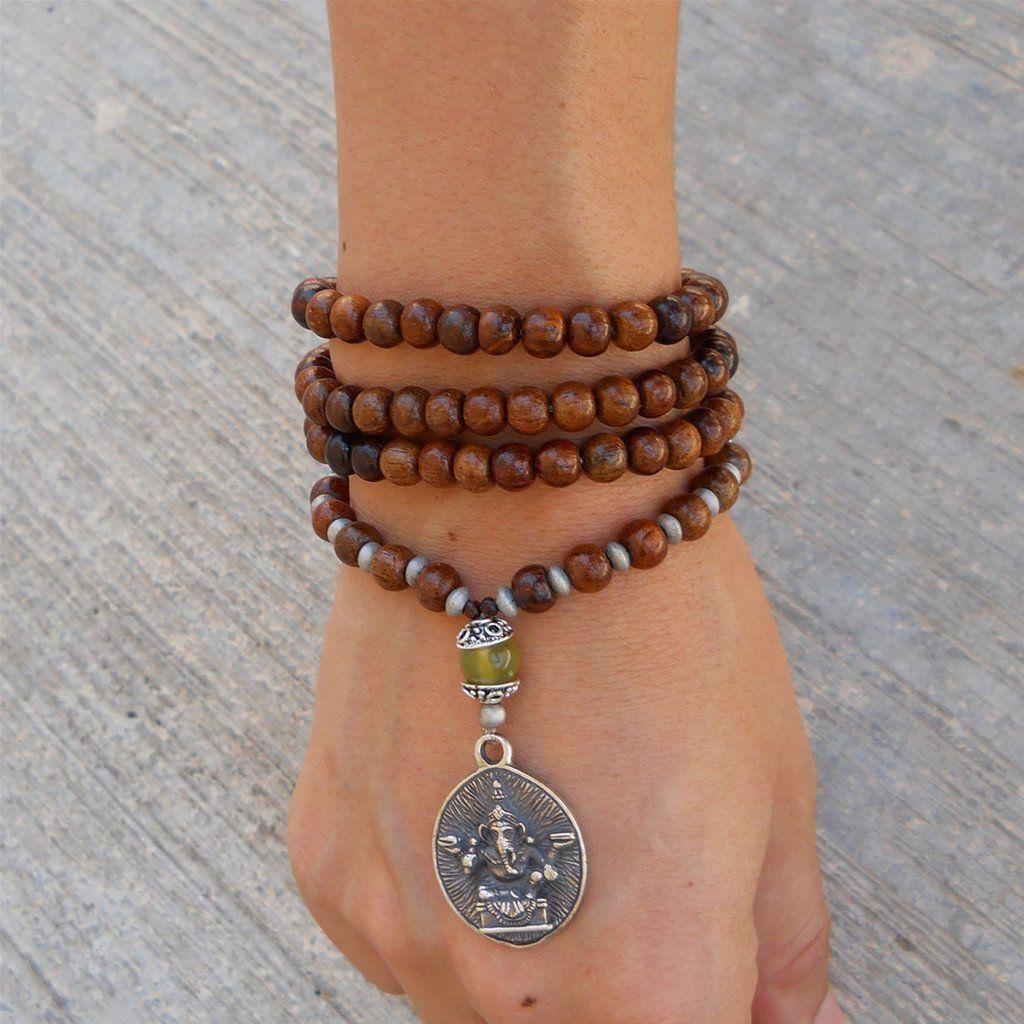 Yoga Bracelet Wrap Bracelet Wrist Mala Howlite Mala Bracelet Rosewood 108 Mala Beads Meditation Prayer Beads Memory Wire Bracelet