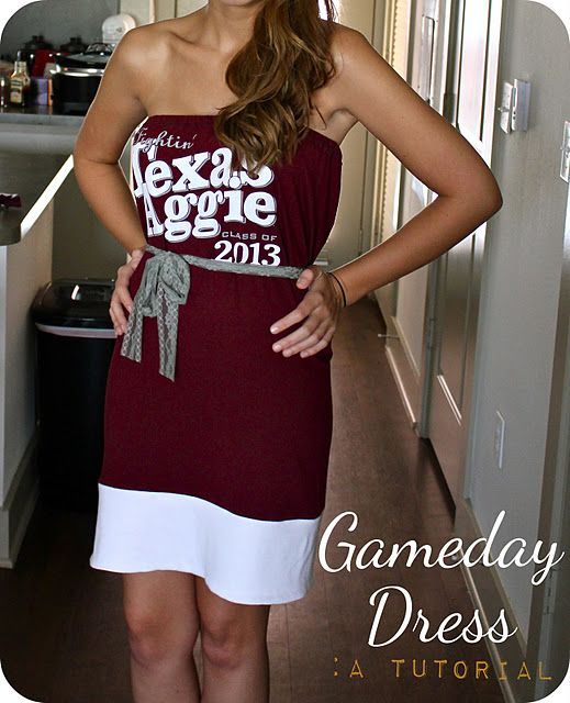 Game Day Dress Tutorial Take your old or new College or NFL or whatever T  shirt and make one of the ever so fashionable Tube Top Dresses!! You won t  catch ... d37768fec