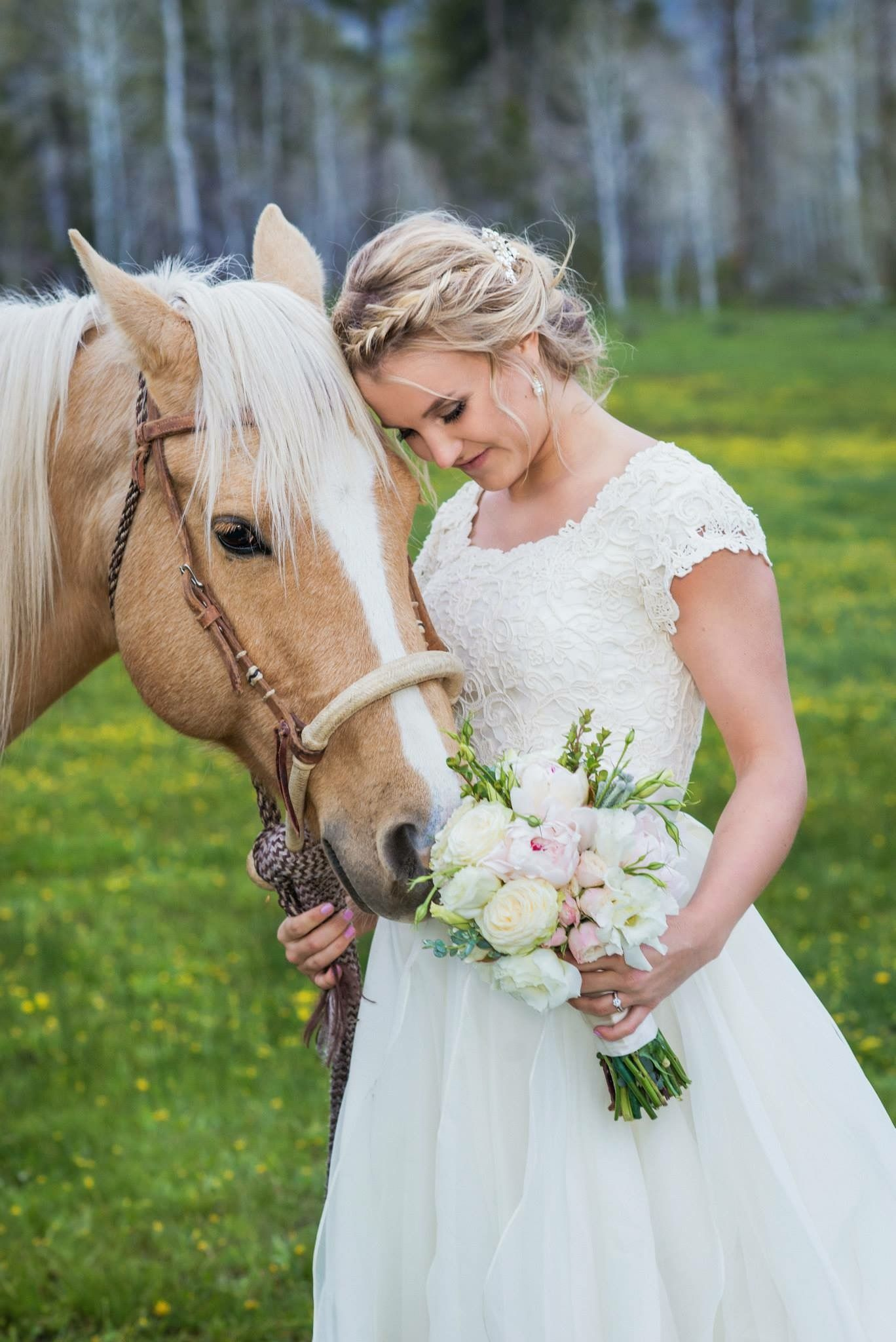 Modest Wedding Dress With Half Sleeve And A Full Skirt From Alta Moda Bridal Gown: Horse For Western Wedding Dresses At Websimilar.org