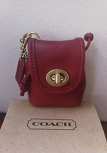 Vintage Never Used Coach Red Leather Mini Daypack Backpack Keychain Key Fob Ebay