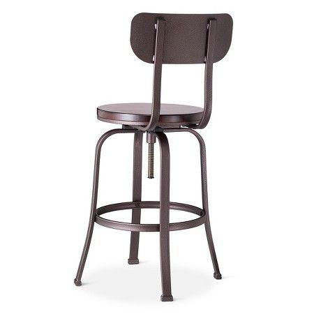 Dakota Adjustable Wood Seat Barstool Threshold Adjustable Bar Stools Bar Stools Rustic Bar Stools