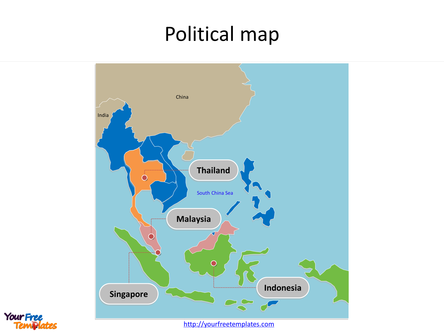 Map Of Asia Template.Southeast Asia Map Free Templates Free Powerpoint Templates