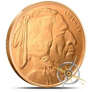 1 OZ .999 PURE COPPER BULLION ART-ROUND//COIN INDIAN HEAD WITH BUFFALO