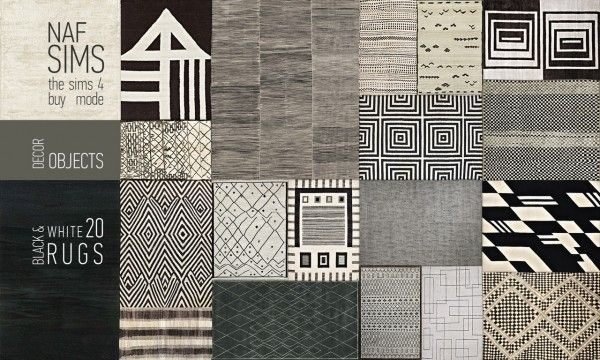 Mod The Sims Black Amp White Rug Collection By Nafsims