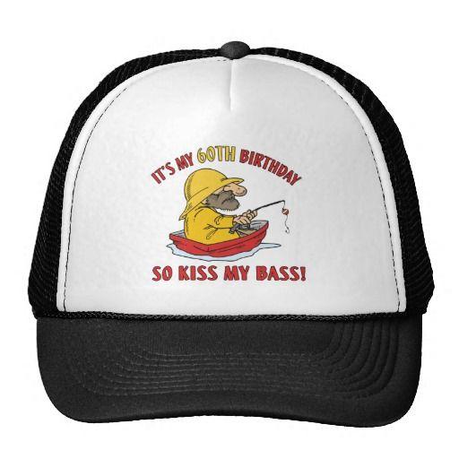 60th Birthday Fishing Gag Gift Trucker Hats