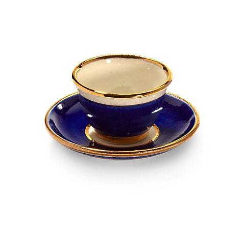Kleine Mokkatasse aus Porzellan, in Dunkelblau, vergoldet, mit - dunkelblaue kche