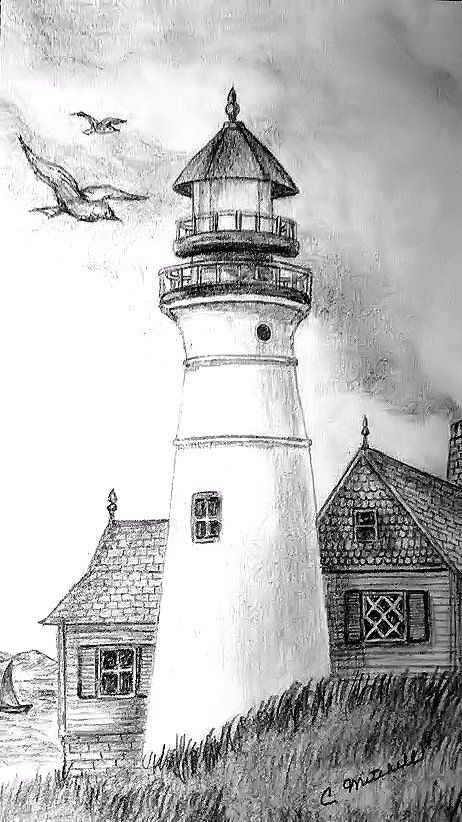 House Drawing Color: Landscape Drawings, Lighthouse Sketch