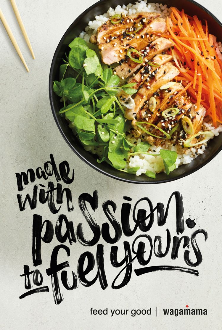 Bespoke brush lettering for wagamama's #FeedYourGood campaign.