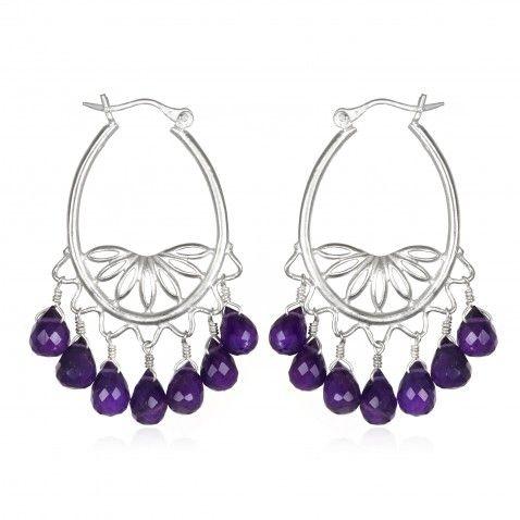 Amethyst Silver Chandelier Earrings
