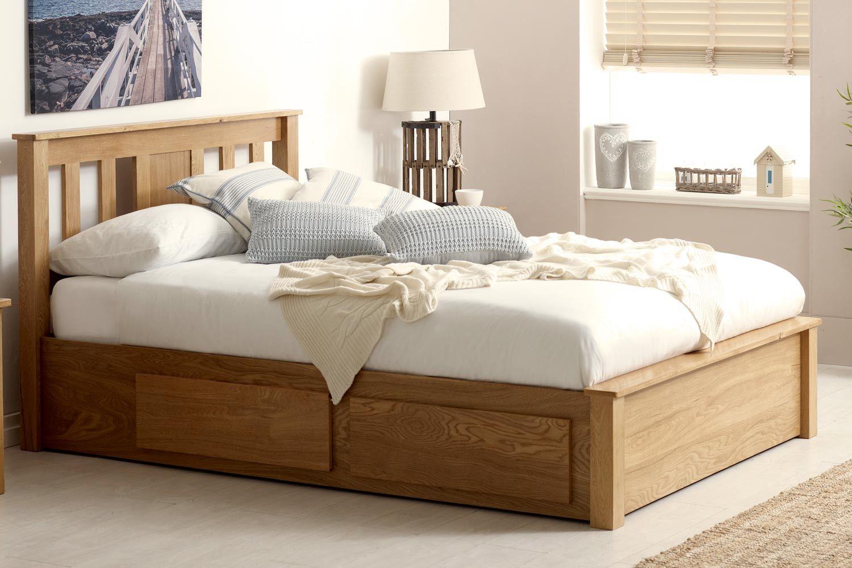 Wimbledon Solid Oak Storage Bed 4ft6 Double The Oak Bed Store