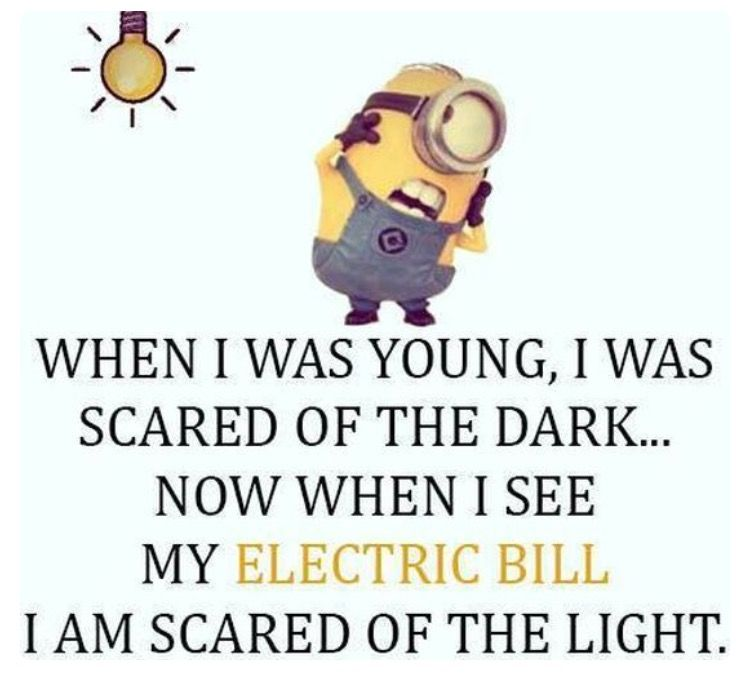 Electric Bill Makes Me Scared Of Light Funny Minion Quotes Funny Minion Pictures Minions Funny
