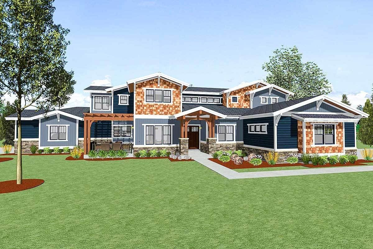 Plan 64451sc Spacious Craftsman For A Large Family Large Family House Plan Craftsman House Plans Large House Plans