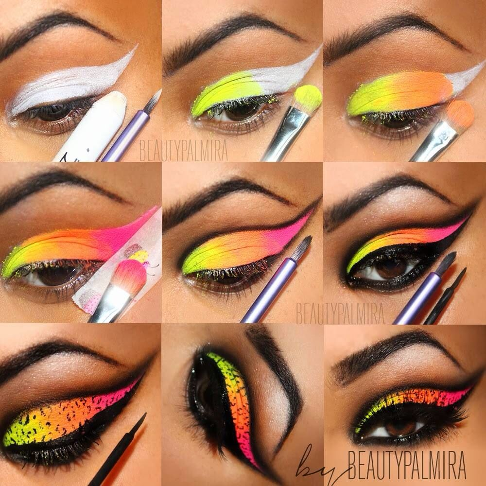Neon Leopard Print Eyeshadow With Images Colorful Eye Makeup