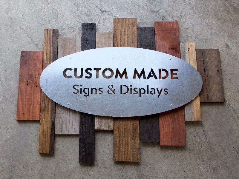 Metal and reclaimed wood sign | Business Signs | Custom metal signs