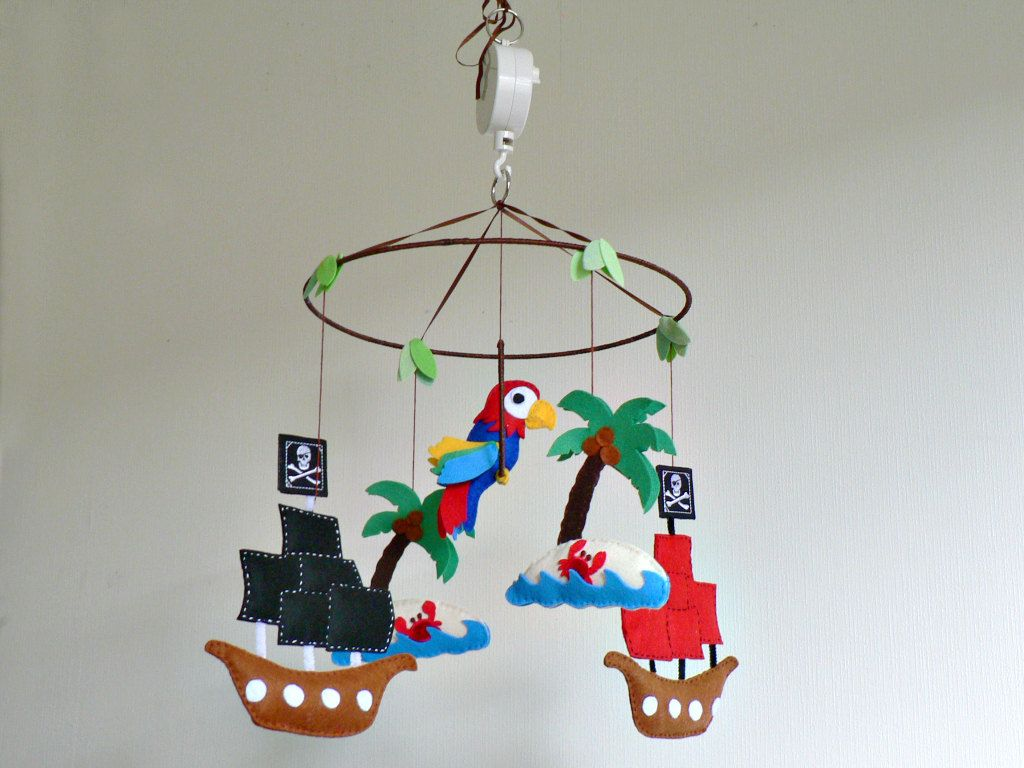 Musical Pirate Mobile Themed Nursery Children Decor Ship Parrot