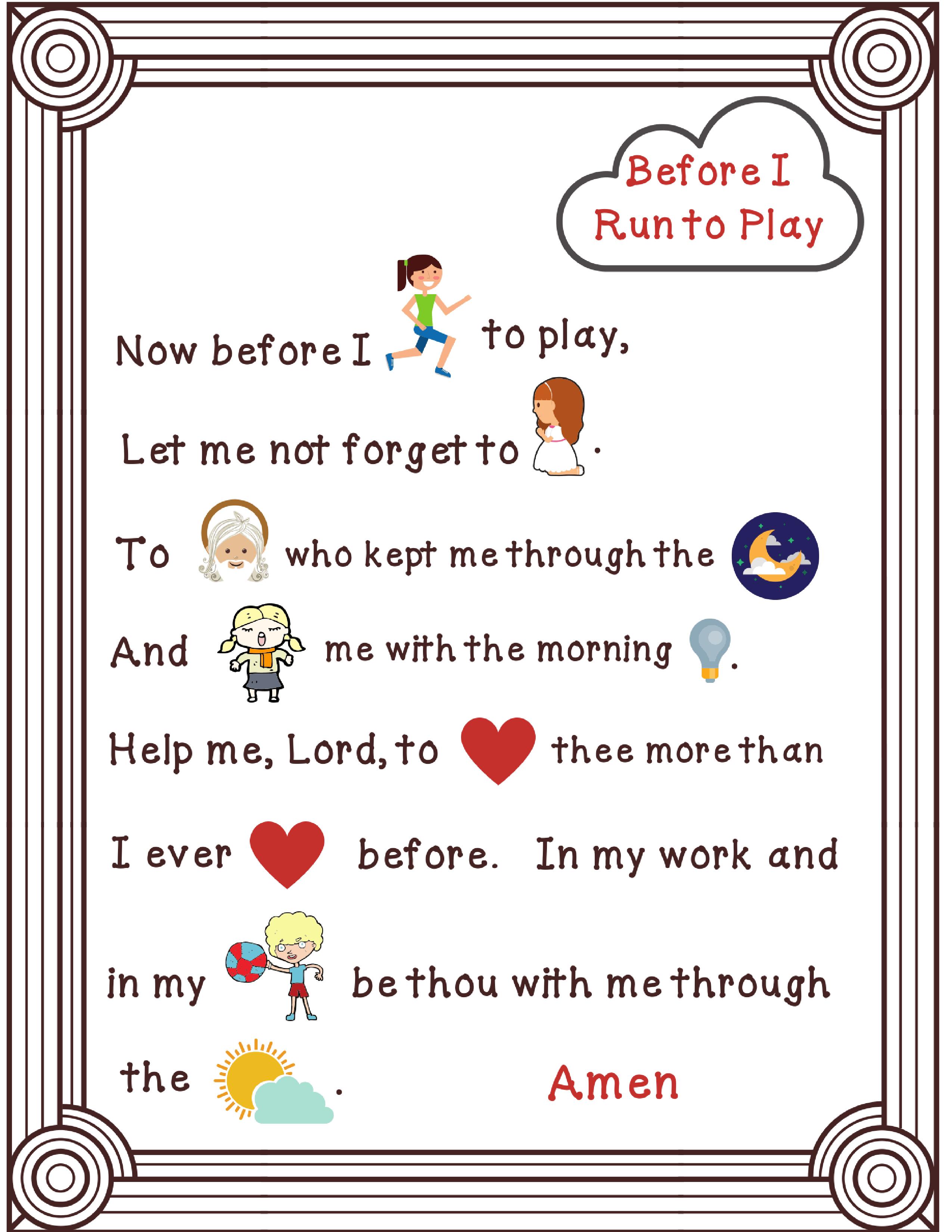 Before I Run To Play Prayer Rebus Christian Printables Bible Study For Kids Printable Activities [ 3300 x 2550 Pixel ]