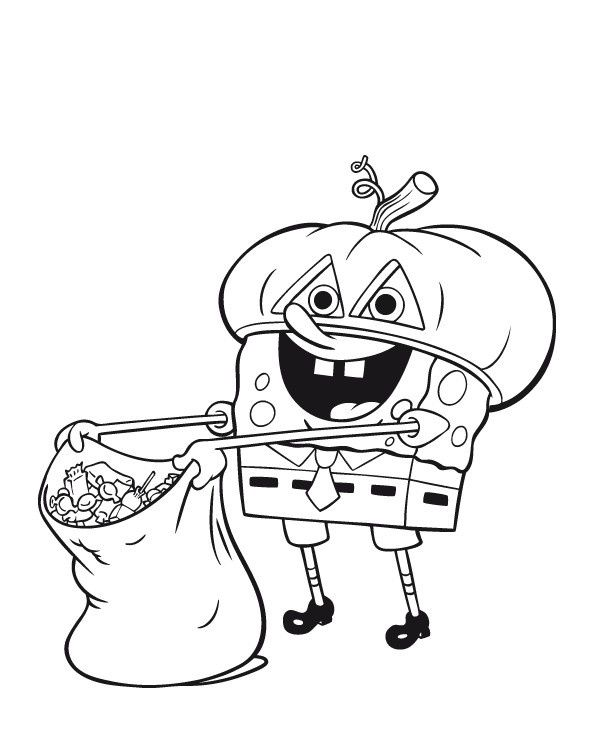 Halloween SpongeBob SquarePants Coloring Page Costume