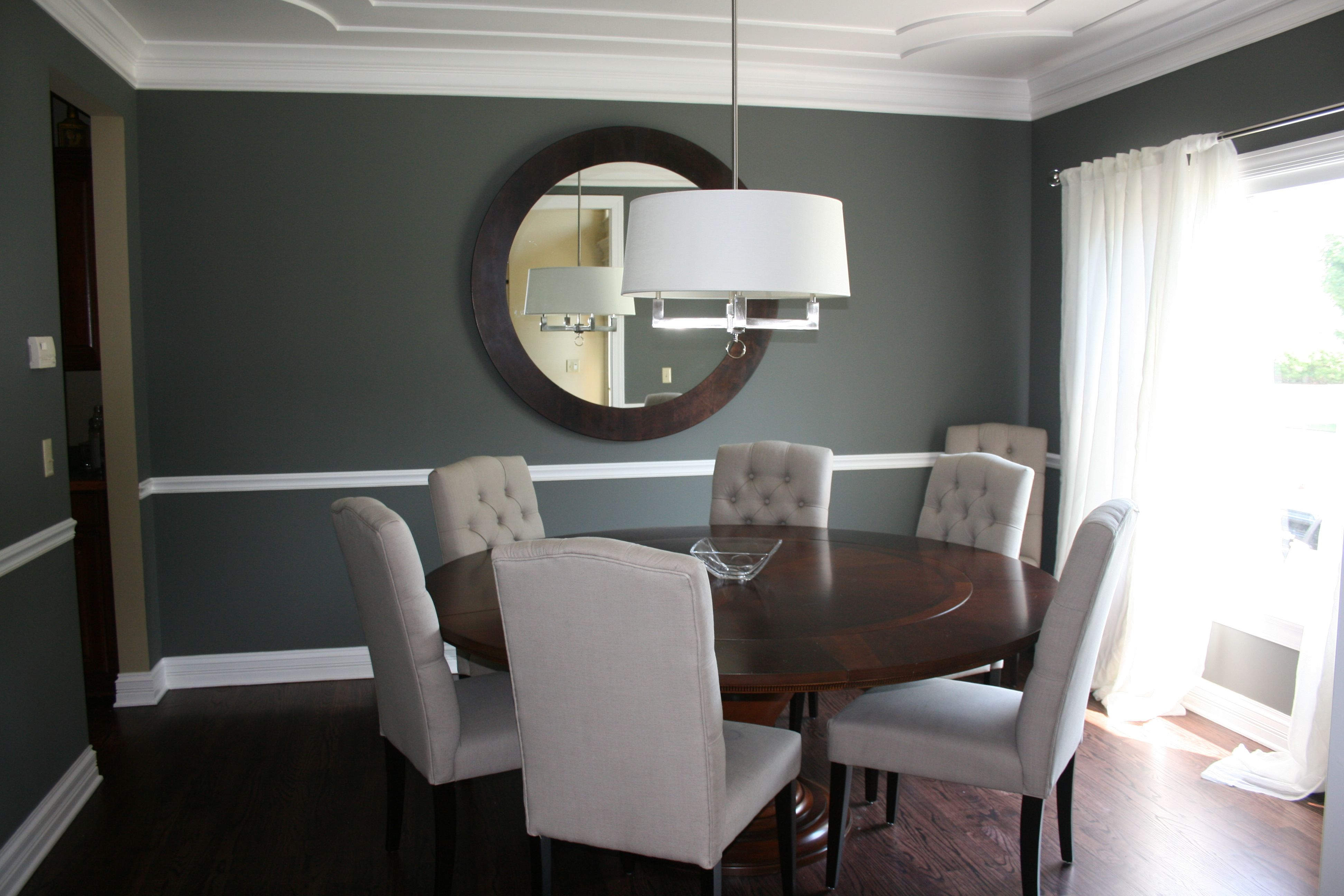 My dining room amherst gray by benjamin moore love it for Amherst family room