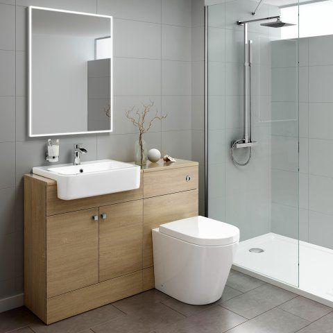 1160mm Harper Oak Effect Combined Vanity Unit Lyon Pan Bathroom Units Bathroom Furniture Storage Bathroom Vanity Units