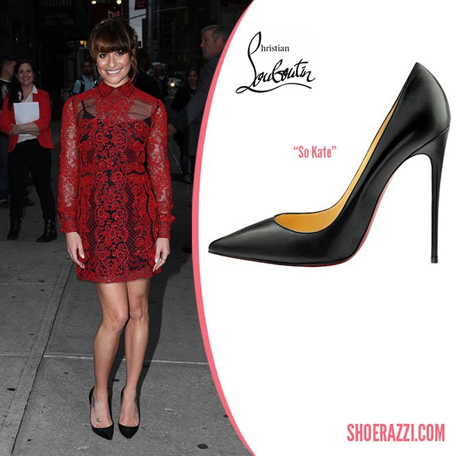 94b02600d53 Lea Michele in Christian Louboutin So Kate Black Leather Pumps ...
